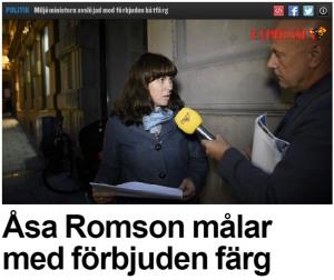 Åsa-Romson-målar-båten-med-förbjuden-färg