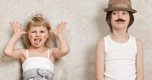 Little kids playing dress up