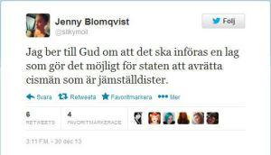 Tweet Jenny Blomqvist